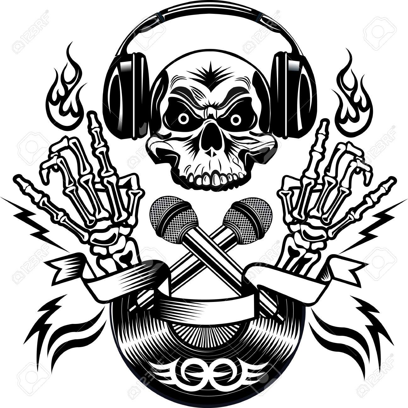 1298x1300 Tattoo Dj Human Skull And Microphone Royalty Free Cliparts