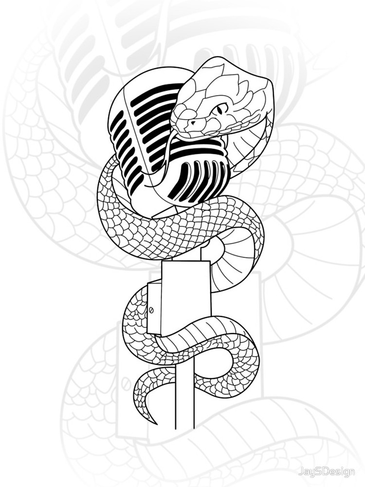 750x1000 Vintage Microphone And Snake Tattoo Design Illustration Iphone