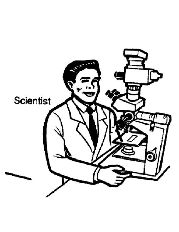 600x778 Scientist On Microscope In Community Helpers Coloring Page