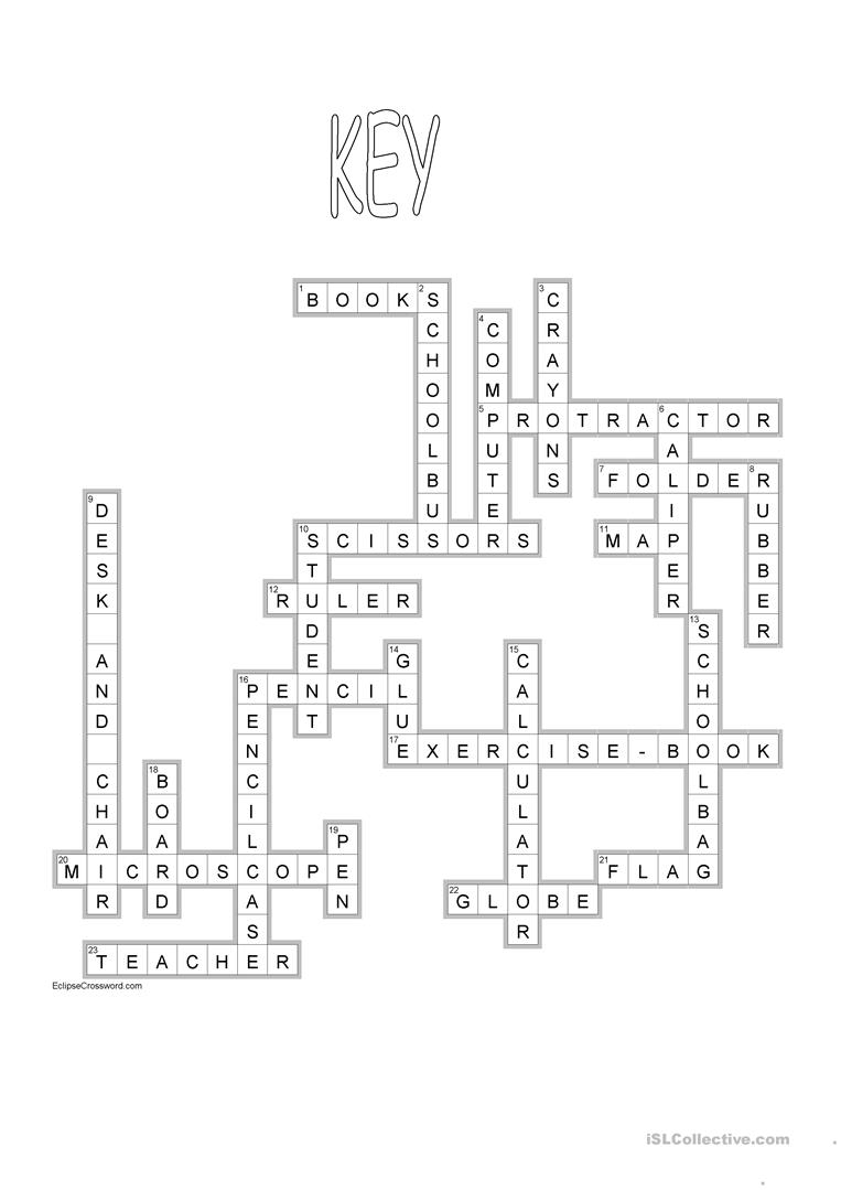 763x1079 School Crossword + Key Worksheet