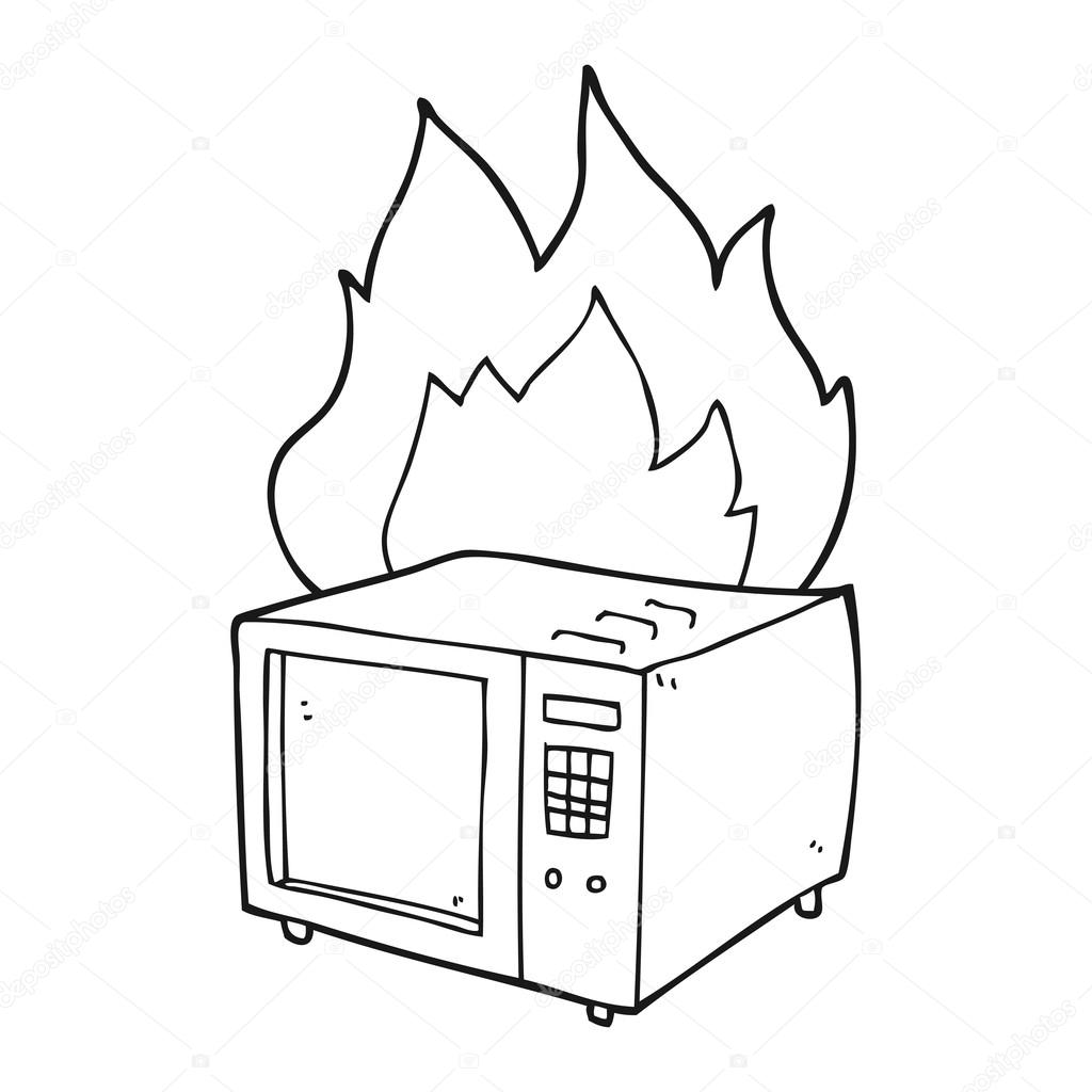 1024x1024 Black And White Cartoon Microwave On Fire Stock Vector