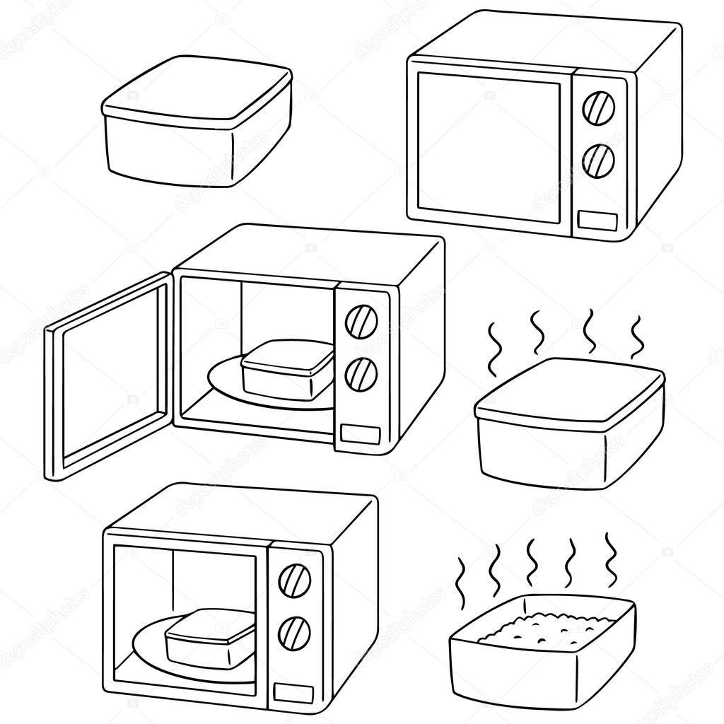 1024x1024 Vector Set Of Microwave Oven Stock Vector