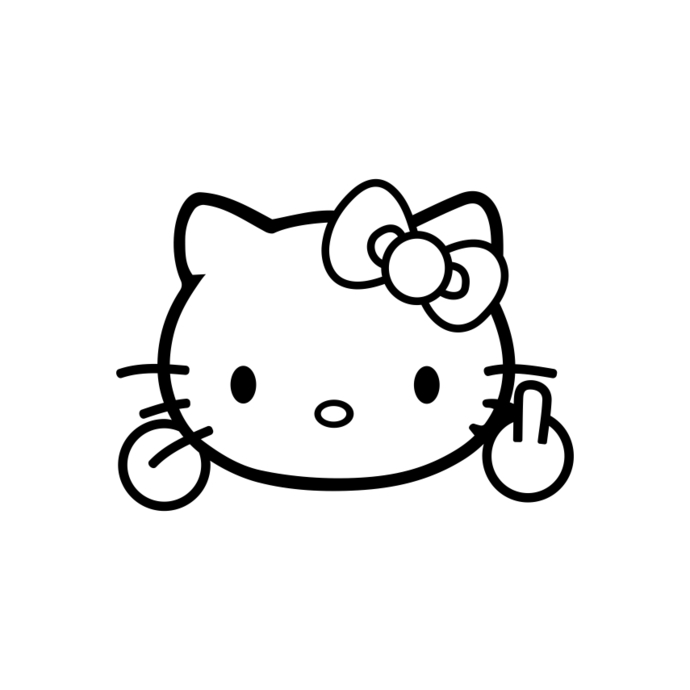 690x690 Hello Kitty Middle Finger Funny Graphics By Vectordesign On Zibbet