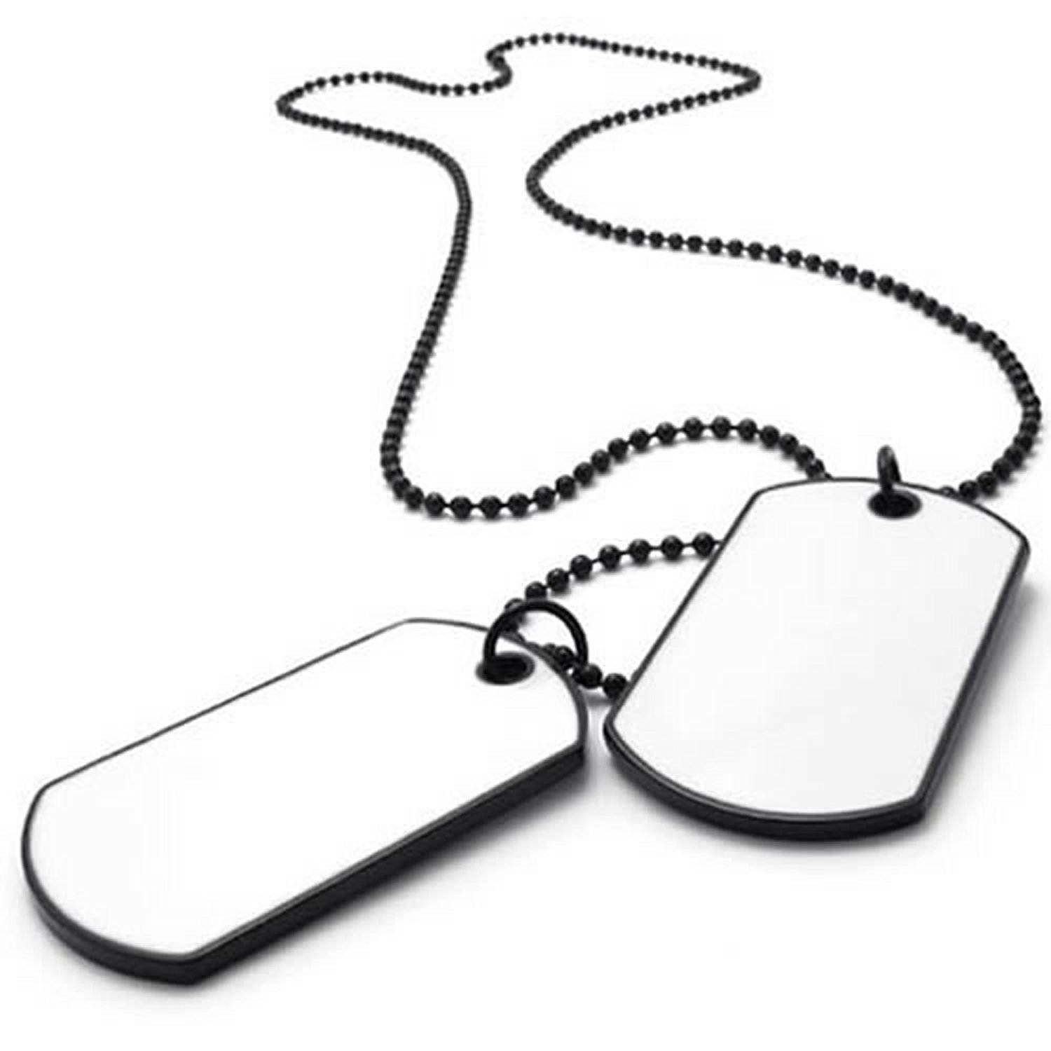 1500x1500 Konov Army Style 2pcs Dog Tag Pendant Mens Necklace Chain, White