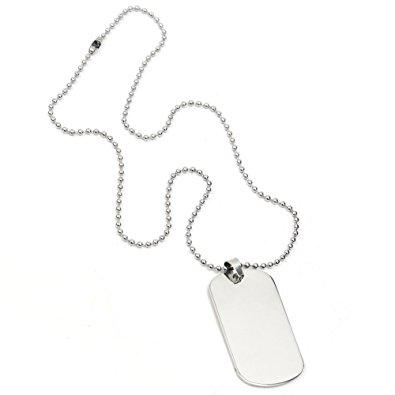 395x395 Stainless Steel Men's Military Silver Tone Plain Dog Tag Pendant