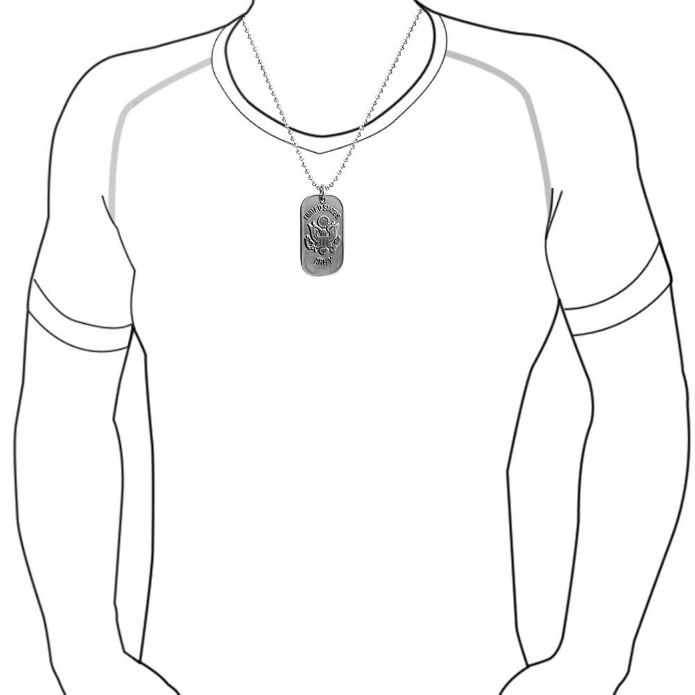1000x1000 Stainless Steel Us Army Dog Tag Pendant Ball Chain 20in