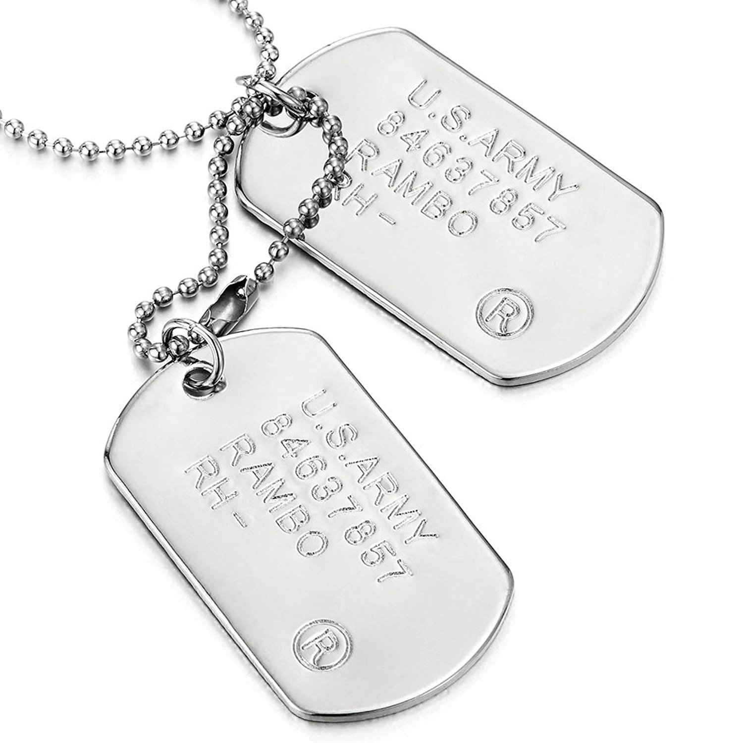 1500x1500 Classic Two Pieces Mens Military Army Dog Tag Pendant