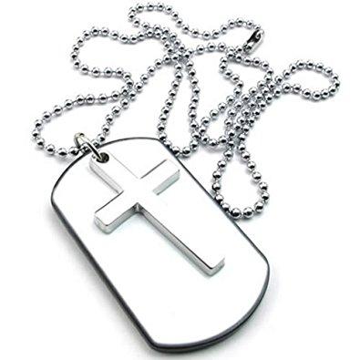 395x395 Konov Mens Womens Army Style Cross Dog Tag Pendant Necklace, 27