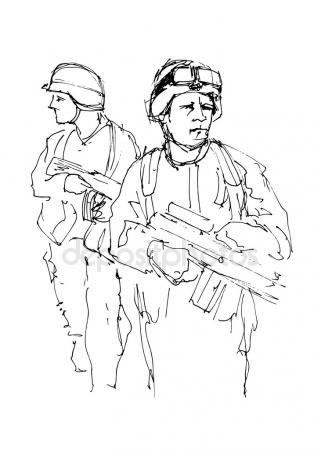 321x450 Soldiers. Vector Illustration Of A Military Man. Army Clothing
