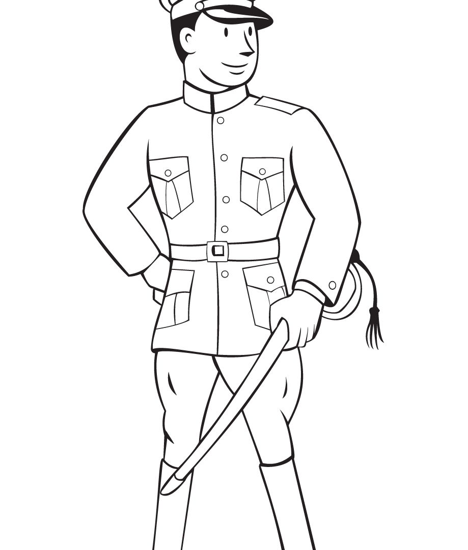919x1080 World War Military Coloring Pages In Training Free Printable