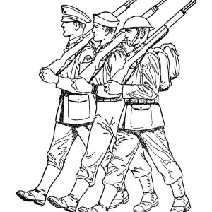 300x300 Military Sergeant Driving A Car In Armed Forces Day Coloring Page