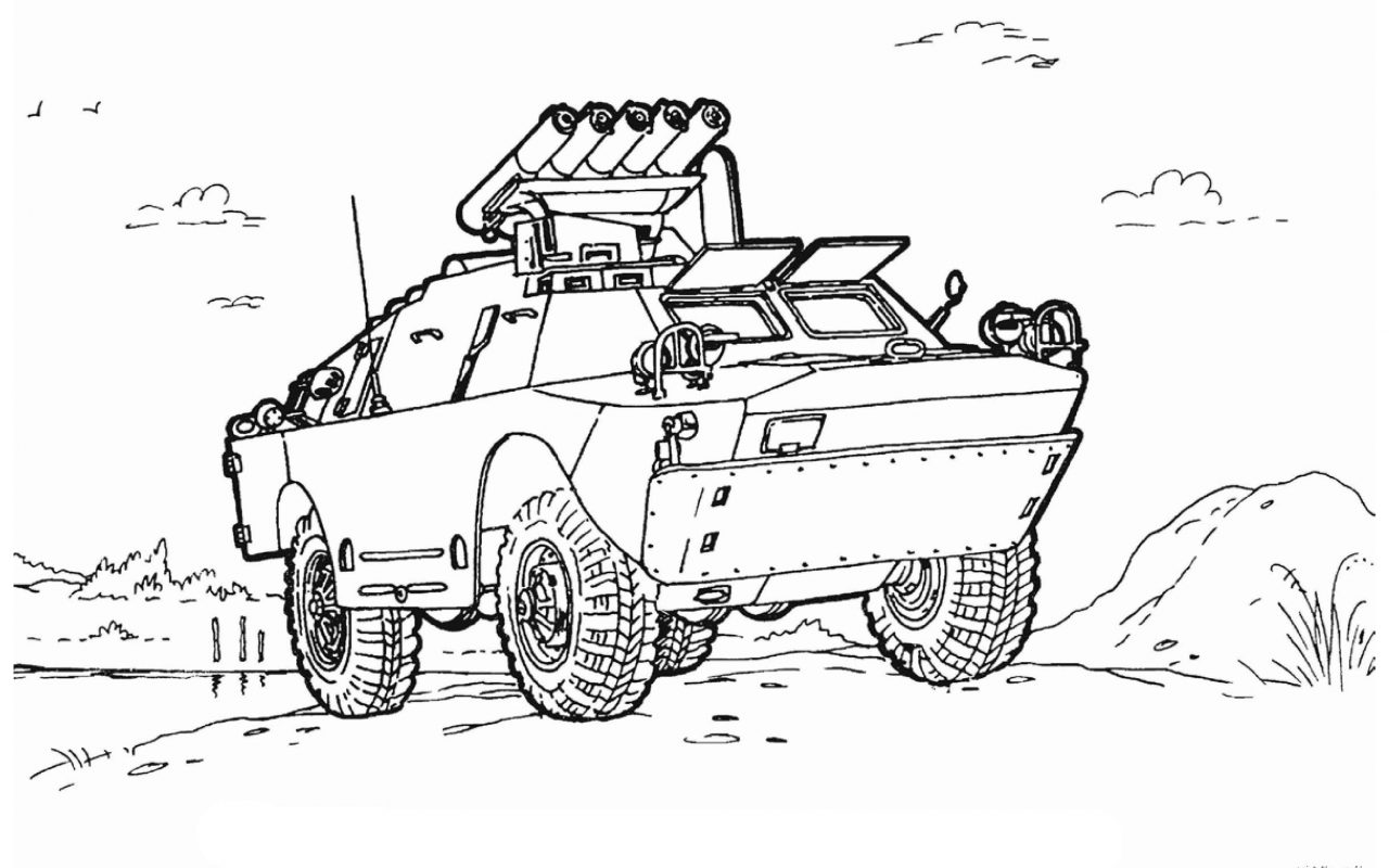 1280x800 Coloring Pages For Kids Armored Security Vehicle Military Army