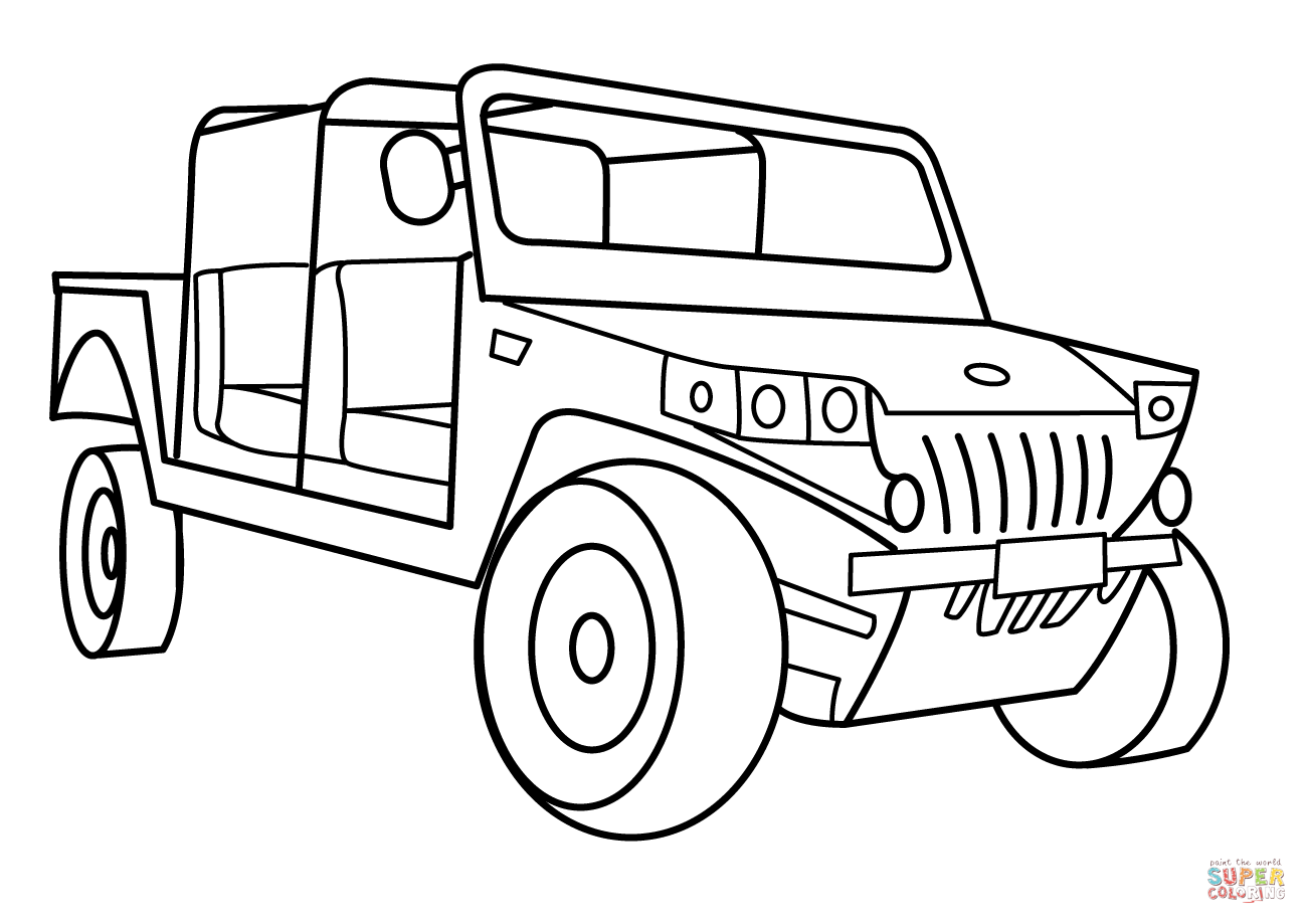 1300x919 Military Light Utility Vehicle Coloring Page Free Printable