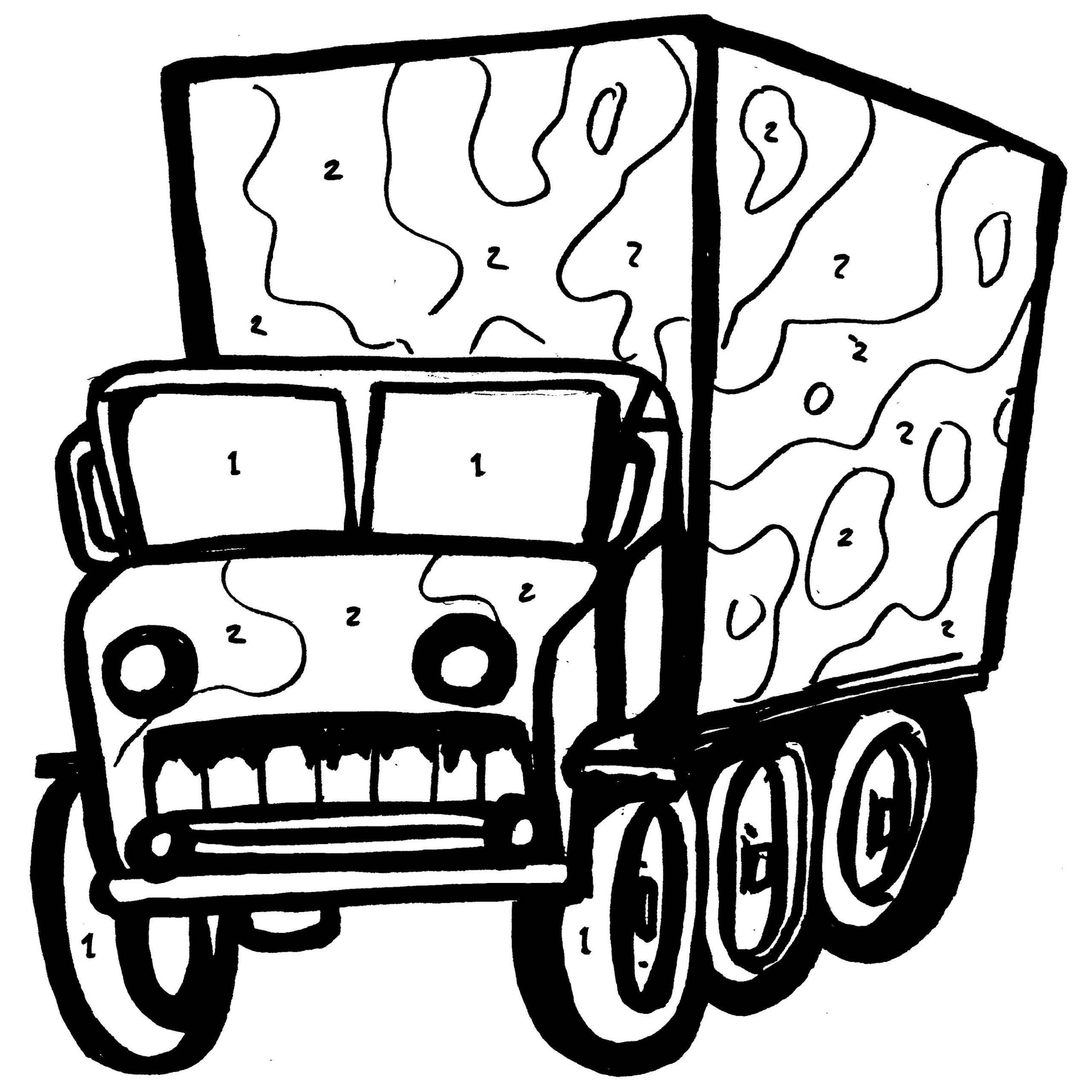 2560x2560 Trucks Coloring Pages