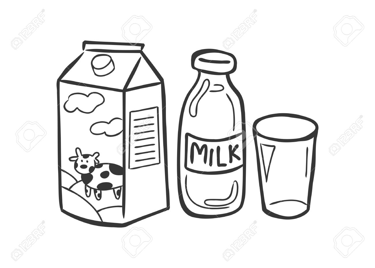 1300x930 Milk In Doodle Style Royalty Free Cliparts, Vectors, And Stock