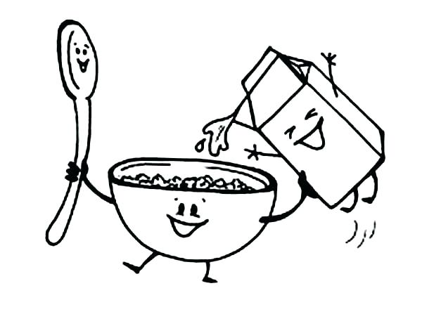 600x464 Milk Coloring Page Milk Coloring Page Breakfast With Cereal