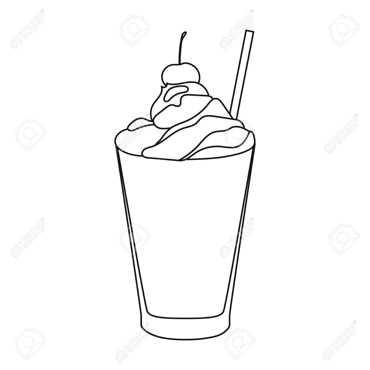 1300x1300 Milkshake With Cherry On The Top Icon In Outline Style Isolated
