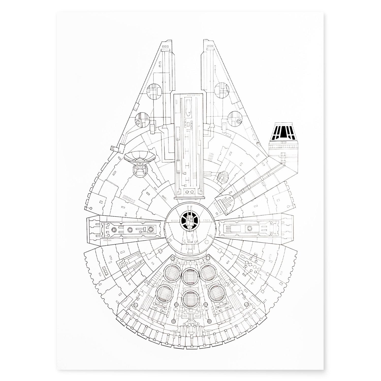 1500x1500 Millennium Falcon White Star Wars (18w X 24l)