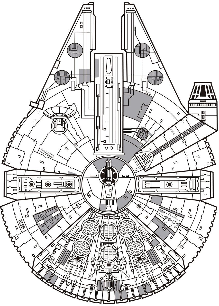 900x1258 Millennium Falcon Schematics By Adam Angold Falcons, Star