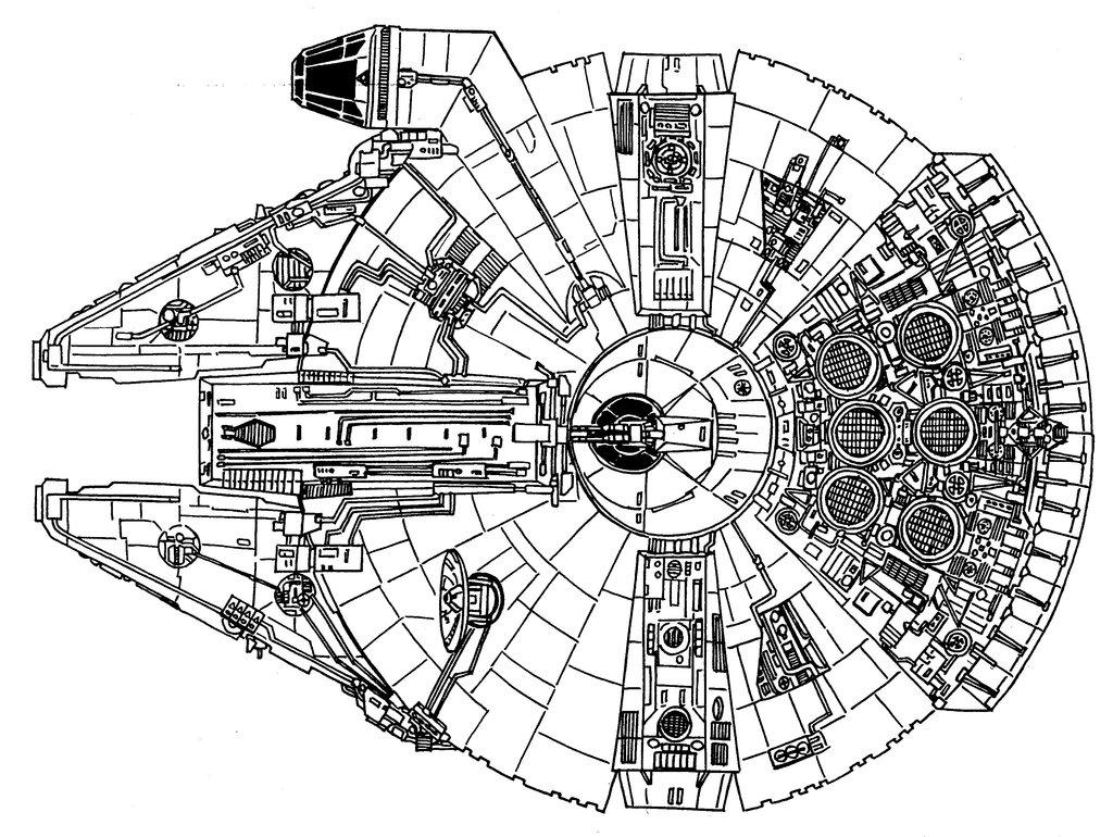 1024x770 Millennium Falcon Top View By Redspider2008