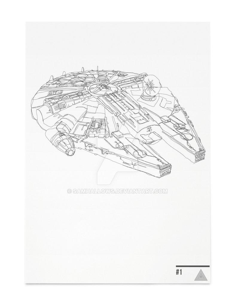 786x1017 Millennium Falcon Star Wars Continuous Line Art By Samhallows