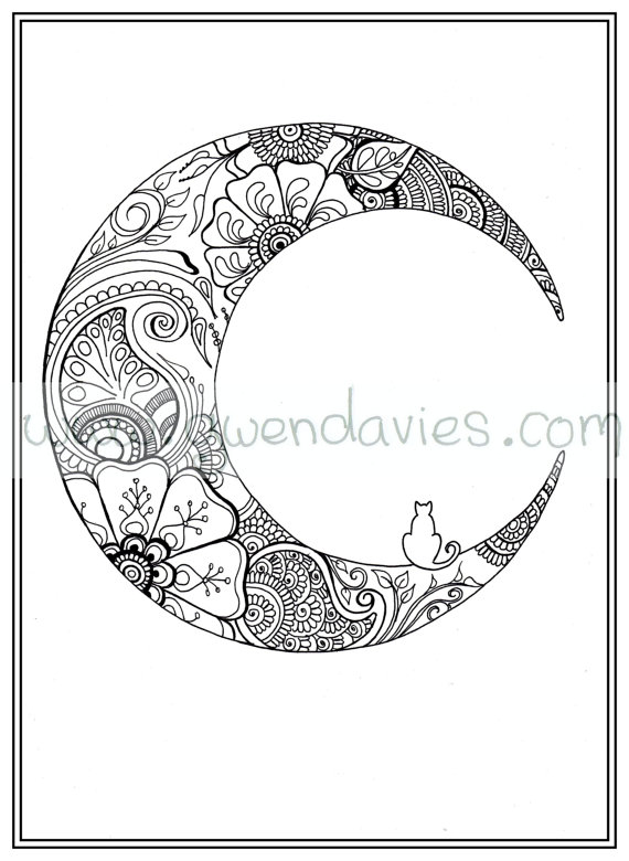 570x780 Adult Colouring In PDF Download Moon Cat Calming Mindfulness