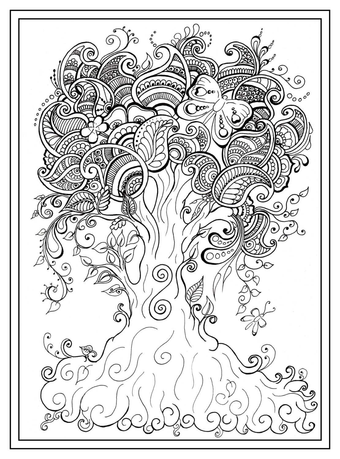 1110x1500 Adult Colouring In PDF Download Tree Dragonfly Henna Zen Mandalas