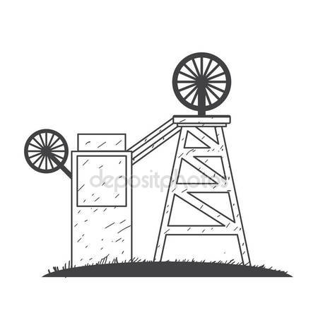 450x450 Mining Mine Logo Outline Drawing. Stock Vector Filkusto