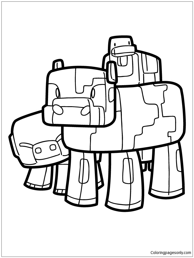683x906 Minecraft Pig Cow And Duck Coloring Page