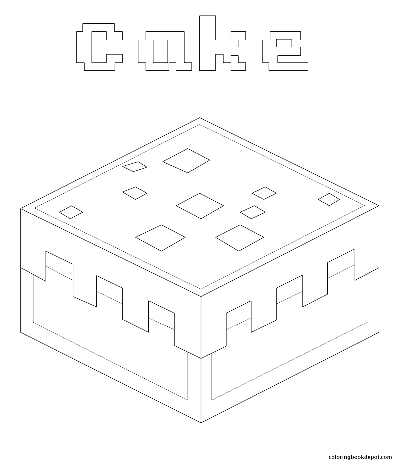 1309x1500 Minecraft Cake Coloring Pages