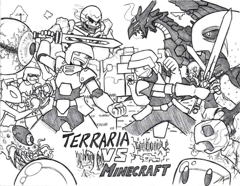 1015x787 Minecraft Vs Terraria By Gold Paladin