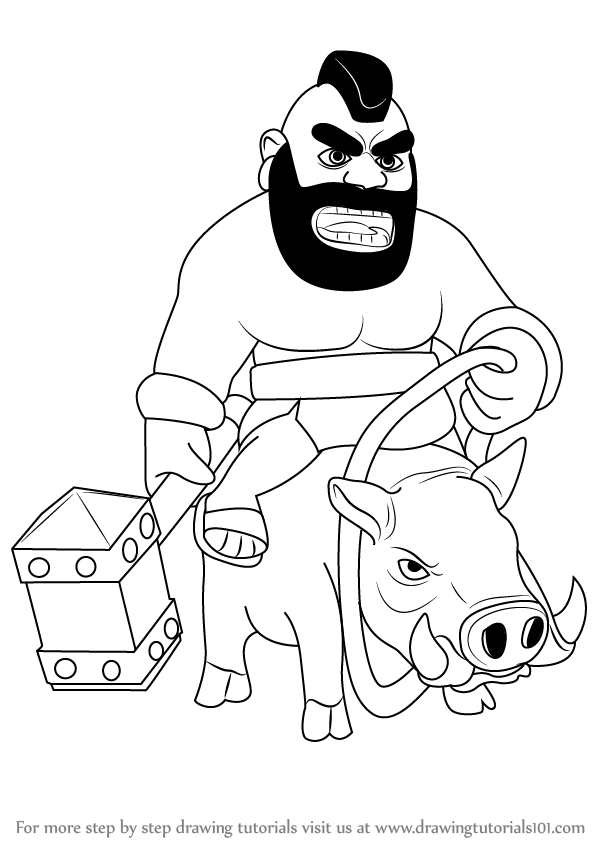 598x844 Step By Step How To Draw Hog Rider From Clash Of The Clans