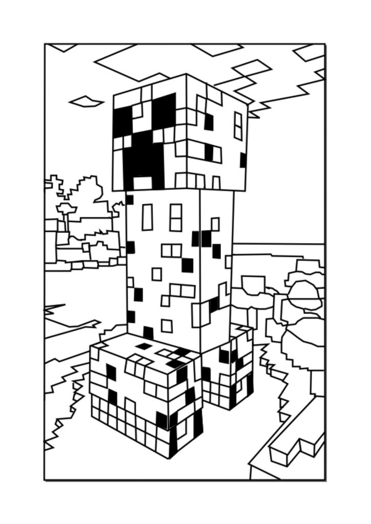 724x1024 Minecraft Craft Coloring Pages Copy Creeper Minecraft Coloring