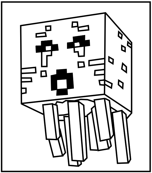 581x658 Printable Minecraft Ghast Coloring Pages. For The Kids