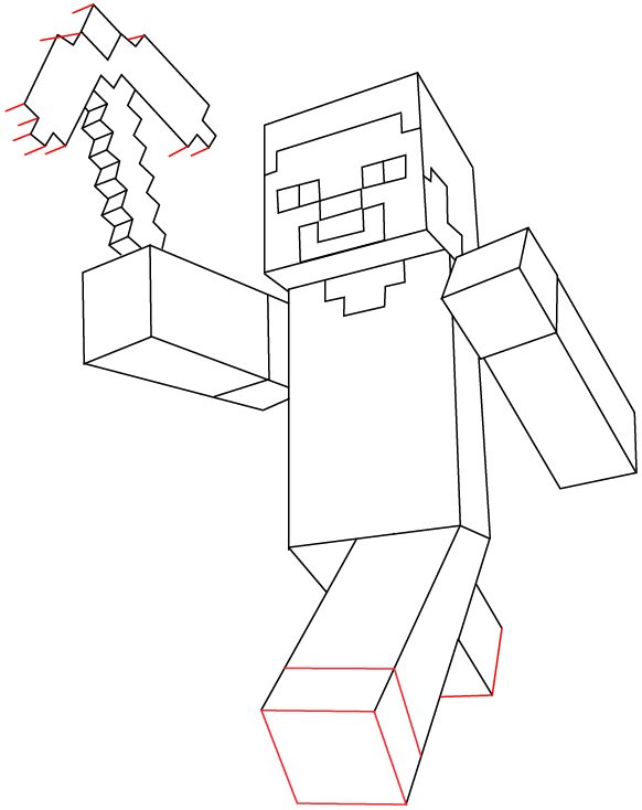 582x734 Step 11 Drawing Steve Pickaxe From Lego Minecraft In Easy Steps