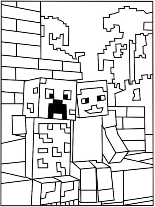 595x795 Ausmalbilder Minecraft Creeper Und Steve 1078 Malvorlage Minecraft