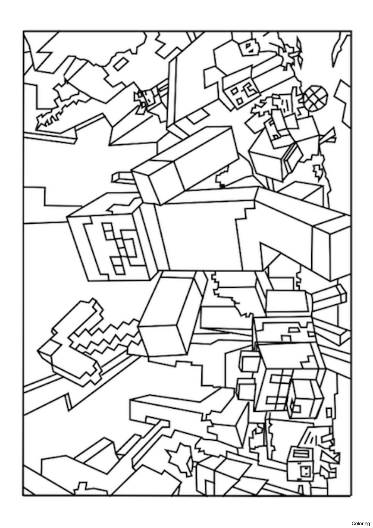 1295x1832 Printable Minecraft Coloring Pages 006 Sheets 25f Mobs Steve