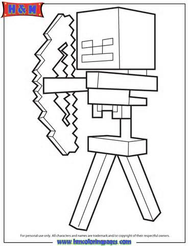370x480 Skeleton And Arrow From Minecraft Game Coloring Page Minecraft