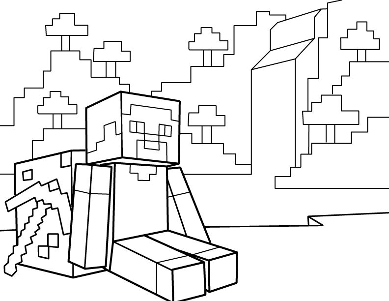 792x612 Steve Resting With Pickaxe Pdf Printable Coloring Page