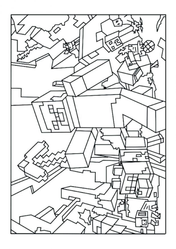 618x874 Creeper Coloring Page 139 Stunning Minecraft Color Pages Face
