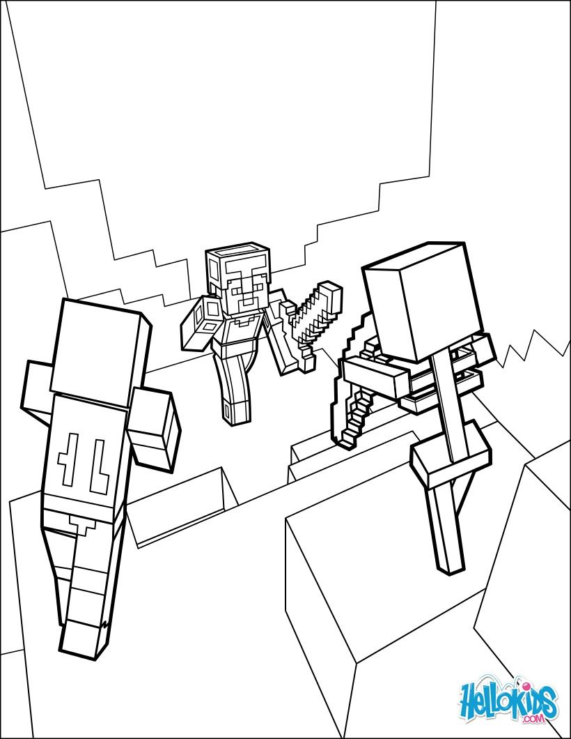 820x1060 Dangerous Dungeon Fights Coloring Page From Minecraft Video Game