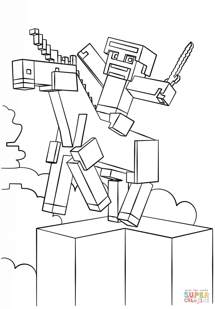 824x1186 Minecraft Unicorn Coloring Page Free Printable Pages