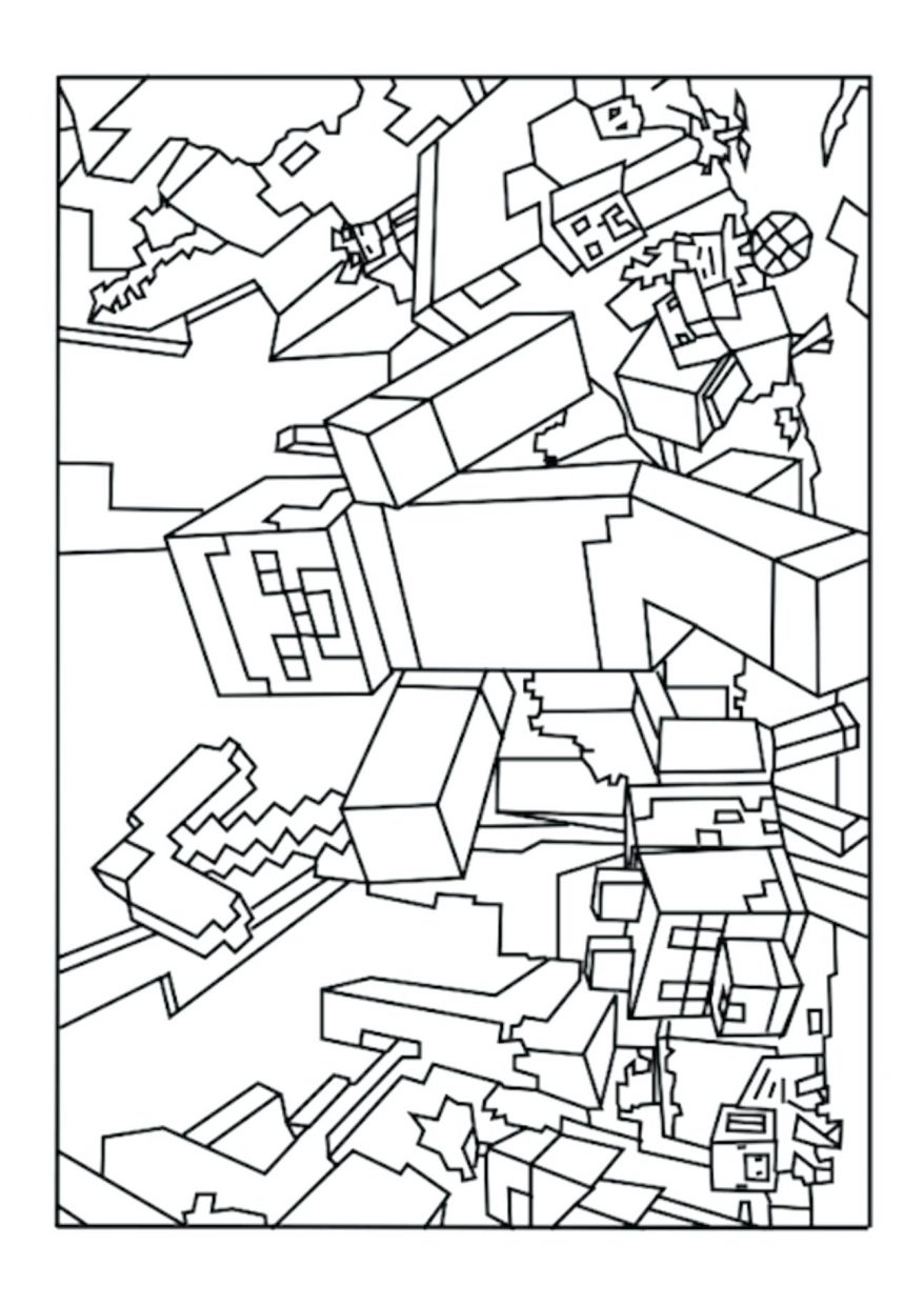 878x1242 Printable Games Creeper Coloring Page 148 Fascinating Minecraft