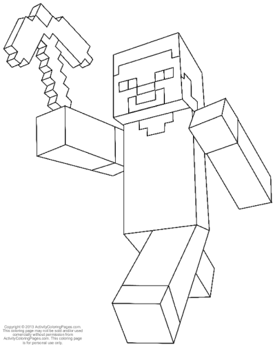 399x504 Minecraft Colouring Pages