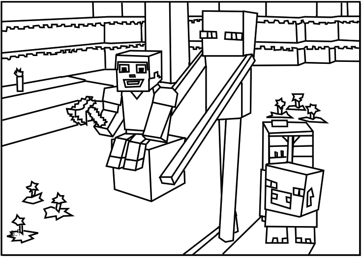 736x523 Amazing Minecraft Printable Coloring Pages 92 For