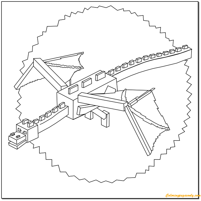 678x678 Minecraft Ender Dragon Coloring Page