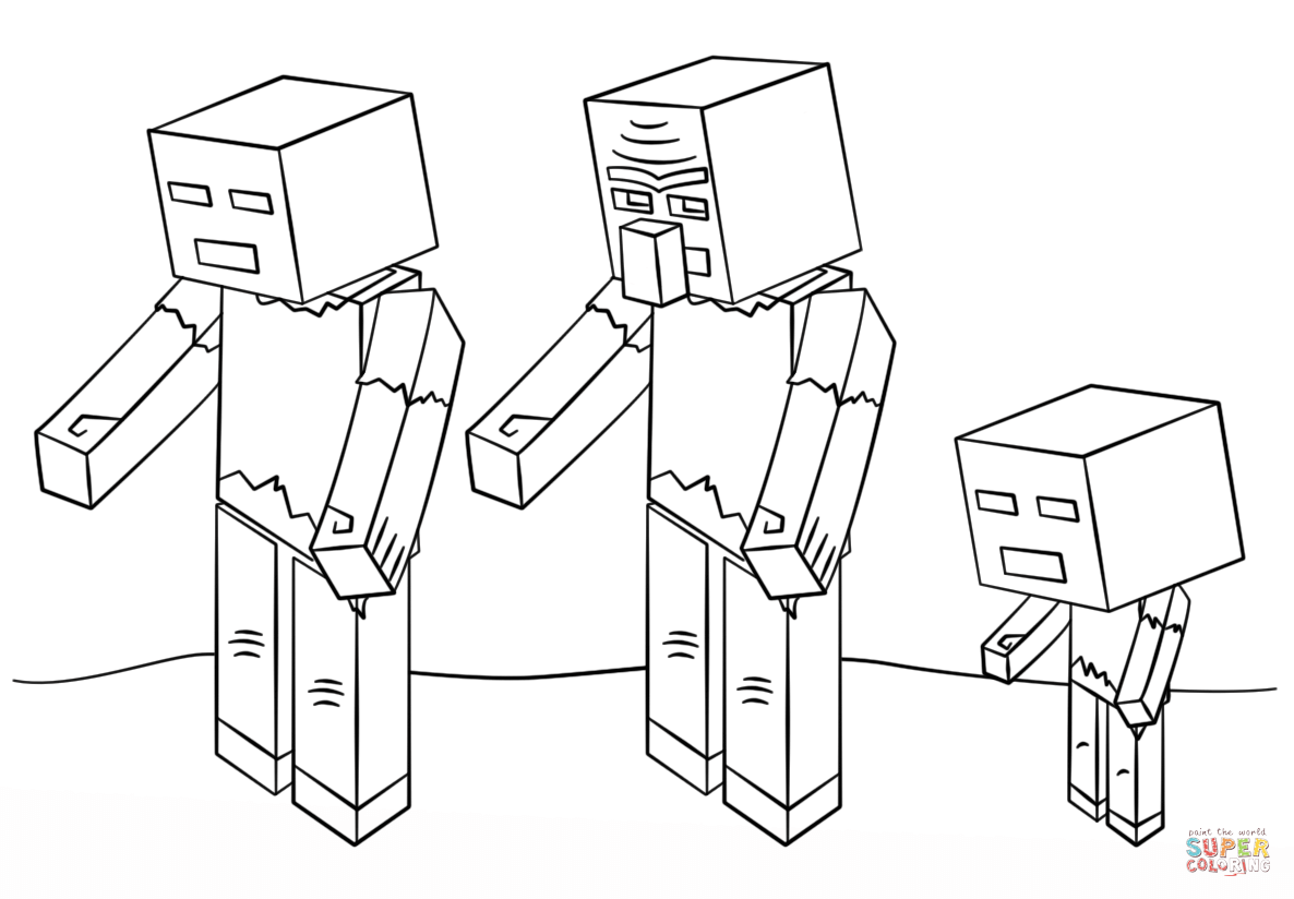 1186x824 Minecraft Zombies Coloring Page Free Printable Pages