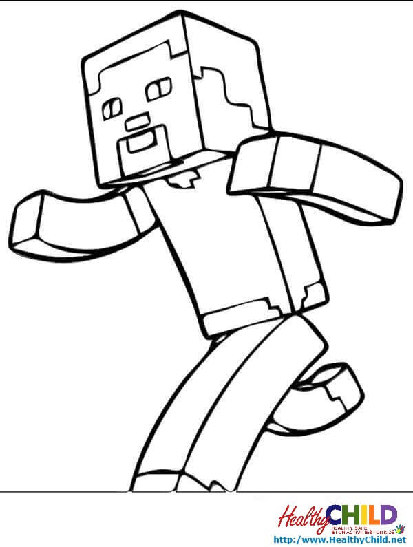 600x795 Minecraft Steve Coloring Pages