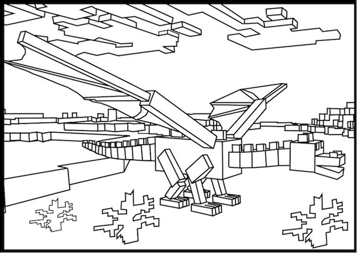 700x496 Minecraft Ender Dragon Coloring Pages