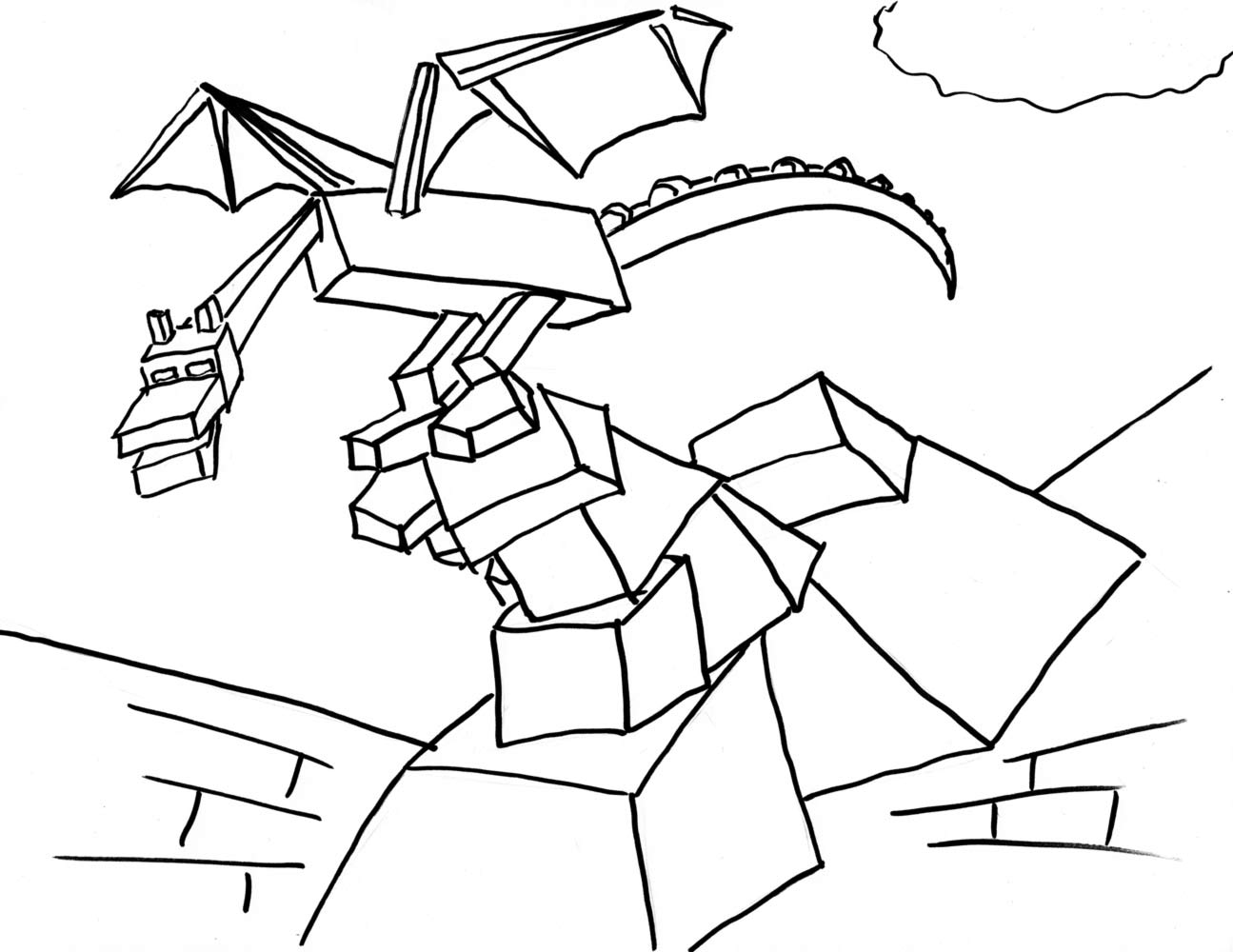 1295x1000 Minecraft Ender Dragon Coloring Pages